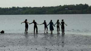 Jubilation Fellow Jessie Levey and students dance at the Hudson River